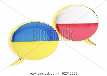 Speech bubbles Ukrainian-Polish conversation concept. 3D rendering