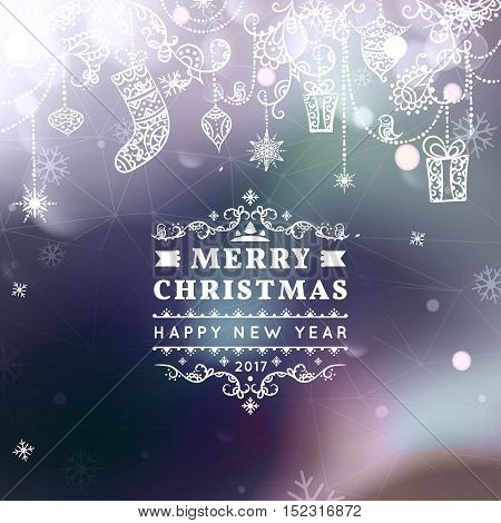Merry Christmas and Happy New Year card. Christmas typographic message. Vector bokeh background, festive defocused lights, snowflakes, bauble, hanging decoration, text. Northern lights.