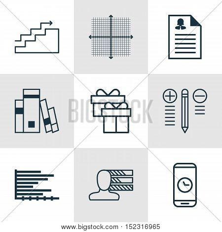 Set Of 9 Universal Editable Icons For Airport, Statistics And Education Topics. Includes Icons Such