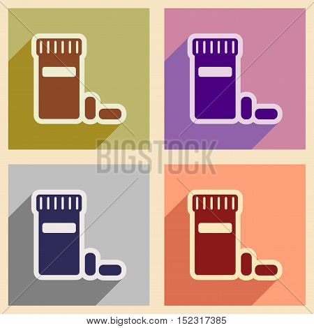 Icons of assembly bottle of pills in flat style