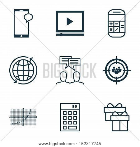 Set Of 9 Universal Editable Icons For Seo, Airport And Human Resources Topics. Includes Icons Such A