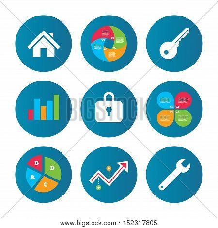Business pie chart. Growth curve. Presentation buttons. Home key icon. Wrench service tool symbol. Locker sign. Main page web navigation. Data analysis. Vector