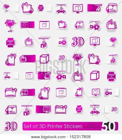 three d printer vector sticker icons with shadow. Paper cut