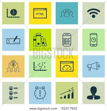 Set Of 16 Universal Editable Icons For Human Resources, Advertising And Airport Topics. Includes Ico