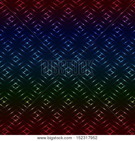 Diamond neon colorful grid vector rainbow background