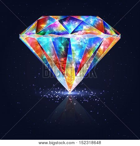 Bright Glowing Colorful Gemstone Quartz. Magical Crystal.
