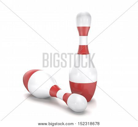 Bowling skittles on white background are shown in image (3d rendering).