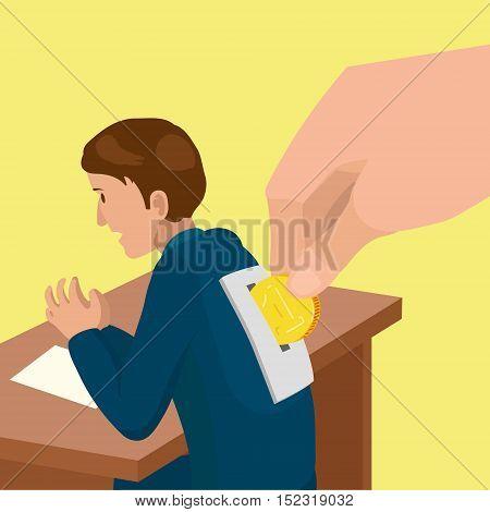 Corrupt politician metaphor. Work for money. Colorful hand drawn cartoon vector illustration