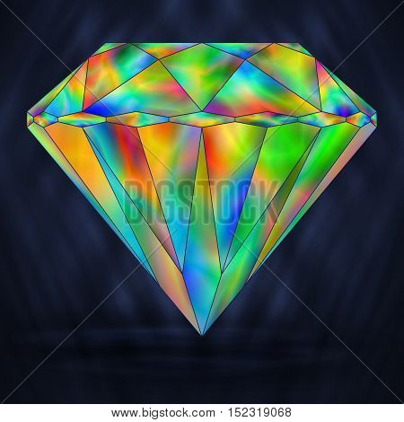 Bright Rainbow Colorful Gemstone. Iridescent Crystal Icon.