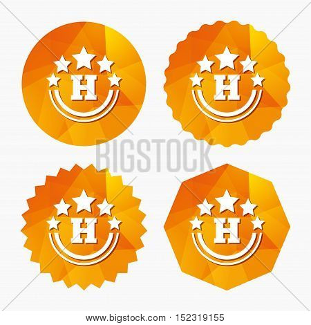 Five star Hotel apartment sign icon. Travel rest place symbol. Triangular low poly buttons with flat icon. Vector