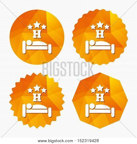 Three star Hotel apartment sign icon. Travel rest place. Sleeper symbol. Triangular low poly buttons with flat icon. Vector