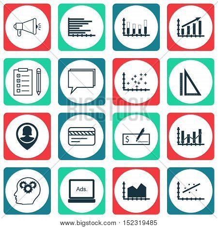 Set Of 16 Universal Editable Icons For Advertising, Travel And Education Topics. Includes Icons Such
