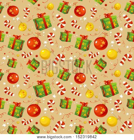 Christmas pattern with traditional symbols, rasterized version