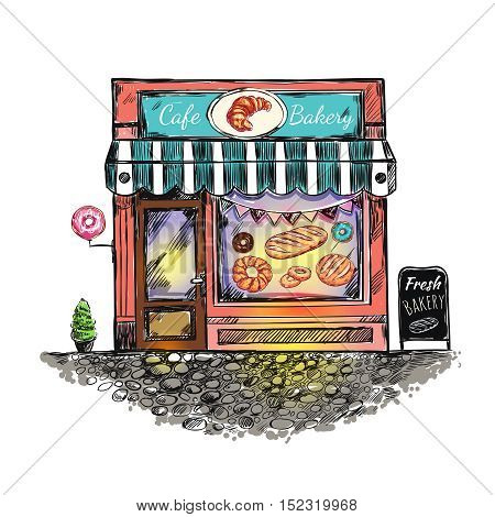 Colored outdoor cafe bakery sketch with donut baking bread print on window vector illustration