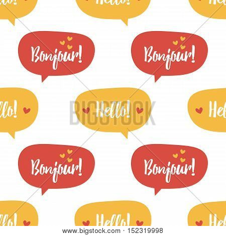 Cute colorful cartoon speech bubbles with words hello and bonjour seamless pattern background.