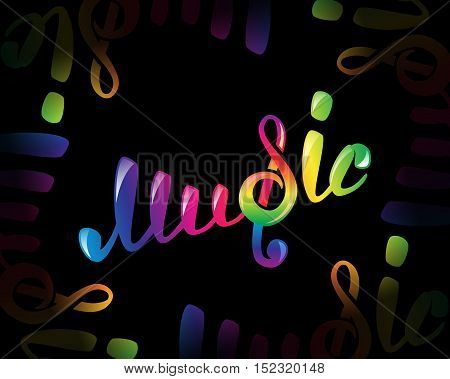 Colorful music logo on black, vector illustration for your design, EPS10