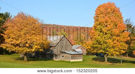 BROMONT QUEBEC CANADA 10 18 2016: Fall landscape old farm in country side of Bromont it is in the Brome-Missisquoi Regional County Municipality