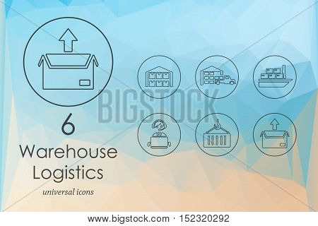 warehouse logistics modern icons for mobile interface on blurred background