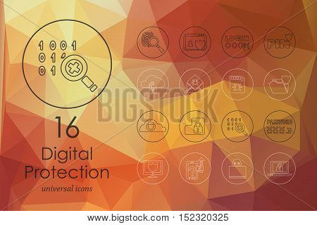 digital protection modern icons for mobile interface on blurred background
