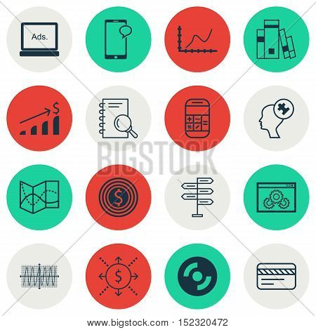 Set Of 16 Universal Editable Icons For Statistics, Project Management And Seo Topics. Includes Icons