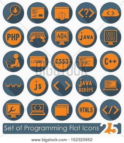Set of programming flat icons for Web and Mobile Applications