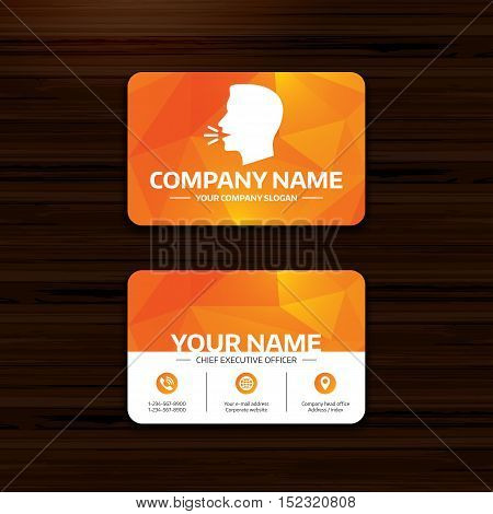 Business or visiting card template. Talk or speak icon. Loud noise symbol. Human talking sign. Phone, globe and pointer icons. Vector