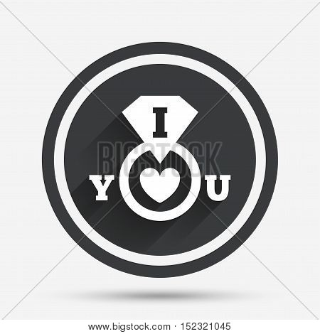 I Love you sign icon. Valentines day symbol. Circle flat button with shadow and border. Vector