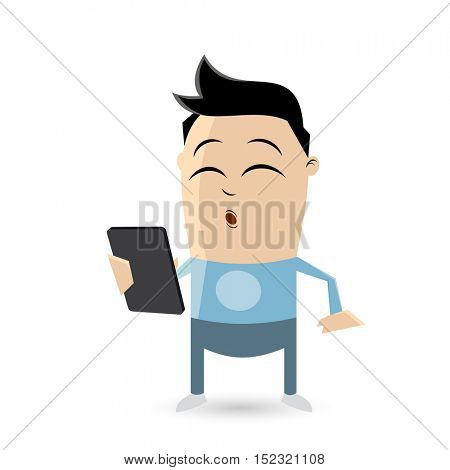 clipart of a teenager with smartphone