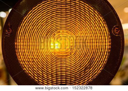 Circular Warning Light Construction Site Yellow Stop Illuminated Glowing Night Dark Traffic Attention Detail Closeup Abstract Pattern