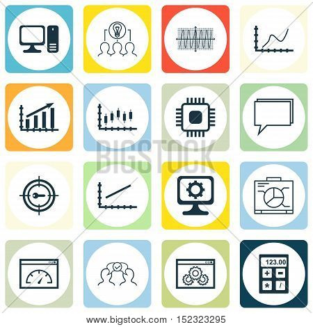 Set Of 16 Universal Editable Icons For Project Management, Education And Seo Topics. Includes Icons