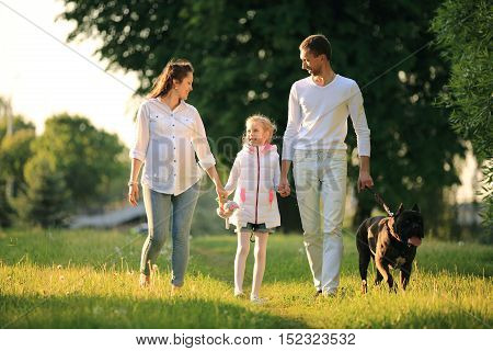 friendly family father,daughter,pregnant mom and their pet dog for a walk in the Park on a Sunny day