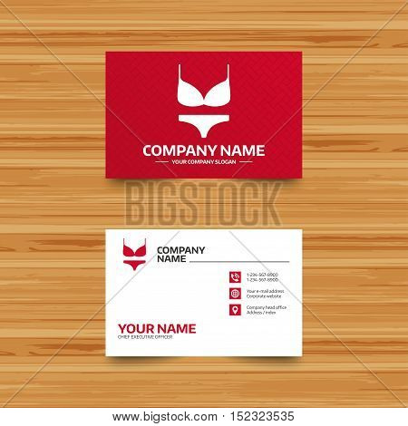Business card template. Women bra and panties sign icon. Intimates underwear symbol. Phone, globe and pointer icons. Visiting card design. Vector