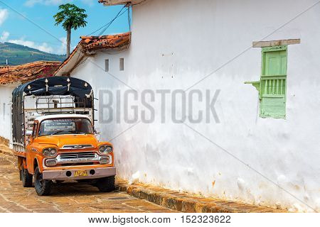 Orange Truck In Barichara, Colombia