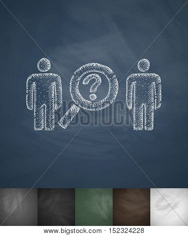 two people icon. Hand drawn vector illustration. Chalkboard Design