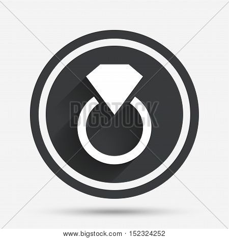 Jewelry sign icon. Ring with diamond symbol. Circle flat button with shadow and border. Vector