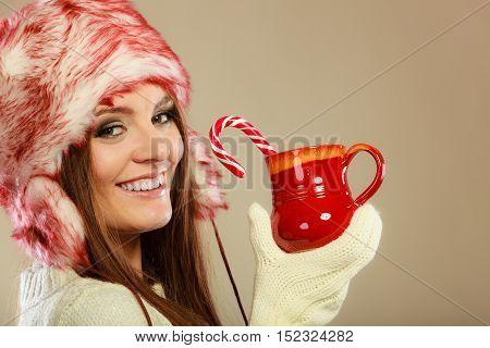 Girl With Cane In Xmas Mug.