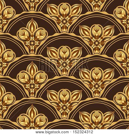 Gold and browne seamless pattern with shiny gradient abstract vintage pieces vector