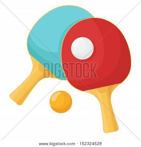Rackets for table tennis isolated on a white background. Ball for the game of ping-pong. Vector illustration.