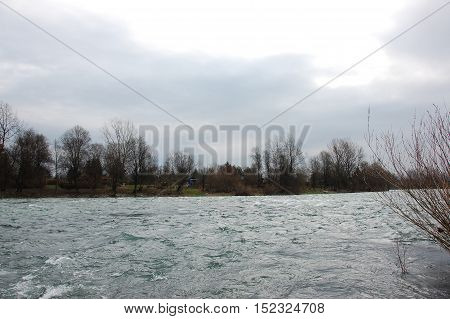 Sava Riverclear and fast water with rapids and waves on it
