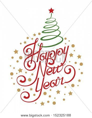 greeting card design with happy new year congratulation