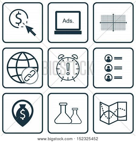 Set Of 9 Universal Editable Icons For Project Management, Statistics And Education Topics. Includes