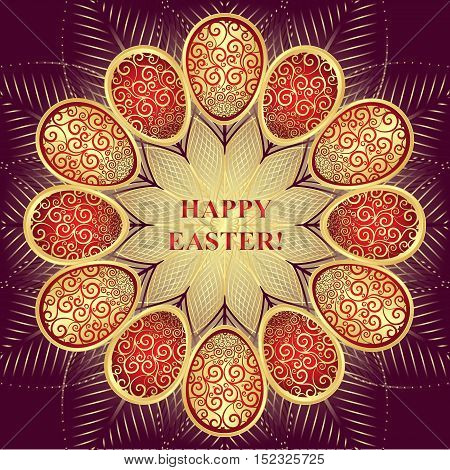 Greeting Card Happy Easter with golden and red gradient eggs over dark background vector