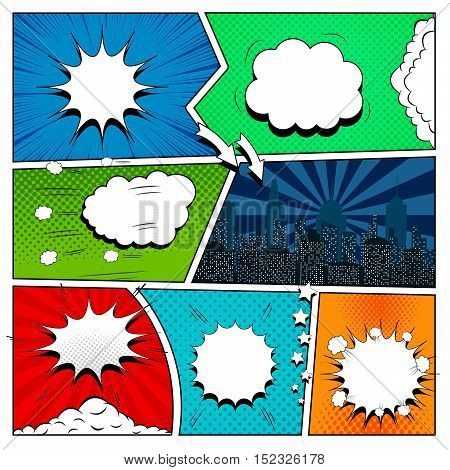 Set of comic book design elements in pop-art style. Vector illustration with empty speech bubbles, clouds, night city, arrows, stars, halftone, radial and dotted backgrounds