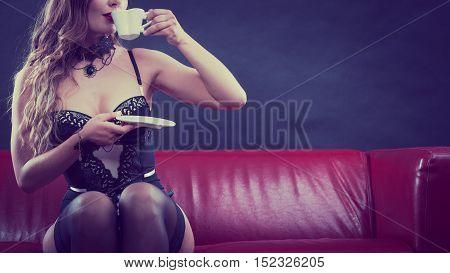 Sensual Lady Is Drinking Tea.