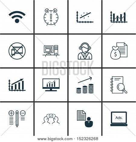 Set Of 16 Universal Editable Icons For Airport, Human Resources And Business Management Topics. Incl