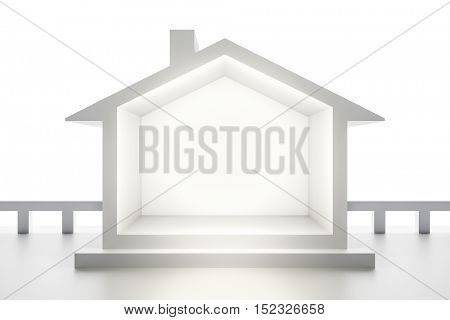 3d rendering of a white house background
