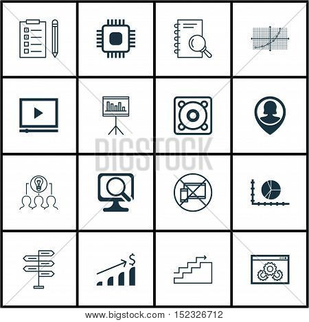 Set Of 16 Universal Editable Icons For Business Management, Project Management And Airport Topics. I
