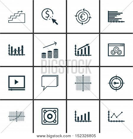 Set Of 16 Universal Editable Icons For Project Management, Statistics And Seo Topics. Includes Icons