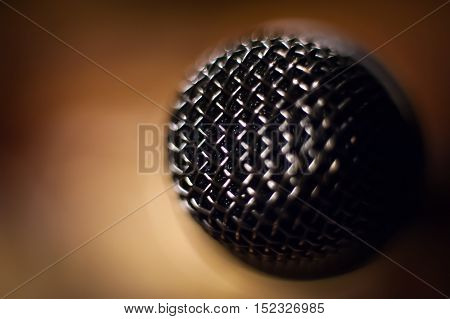 Microphone Metallic Head Macro Close Up
