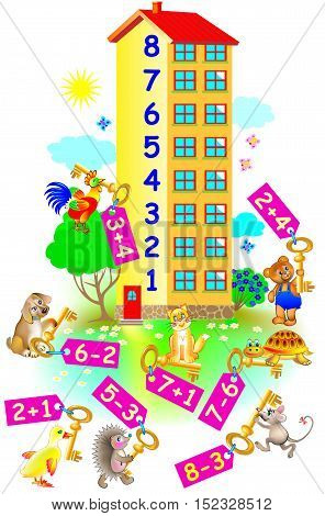 Exercises for children - need to help animals to find their floor in the house. Developing skills for counting. Vector image.
